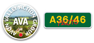 AVA logo and A36 A46 Link Road Facts Bath Somerset